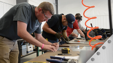 Apprentices training for sheet metal careers